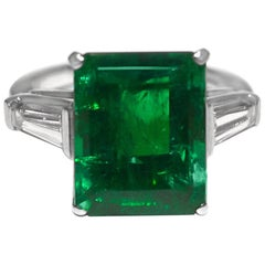 AGL Certified Colombian Green Emerald Ring Weighting 6.72 Carat