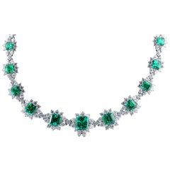 AGL Certified Columbian Emerald and Diamond Necklace