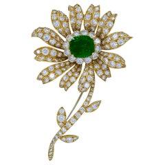 AGL Certified Emerald and Diamond 18 Karat Yellow Gold Brooch by VCA