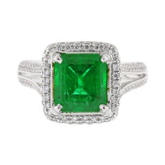 A.G.L Certified Emerald and Diamond Ring