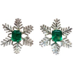 AGL Certified Emerald and Diamond Snowflake Earrings