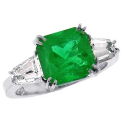 A.G.L. Certified Emerald and Diamond Three-Stone Ring by Pampillonia