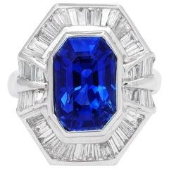 AGL Certified Emerald Cut Sapphire Baguette Diamond Cocktail Ring