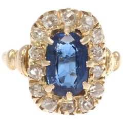 AGL Certified French Belle Époque Sapphire Diamond Cluster Gold Ring, circa 1900