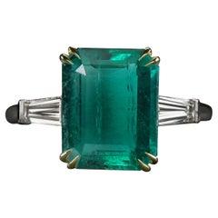 AGL Certified Green Emerald Emerald Cut Tapered Baguette Diamond 18k Gold Ring