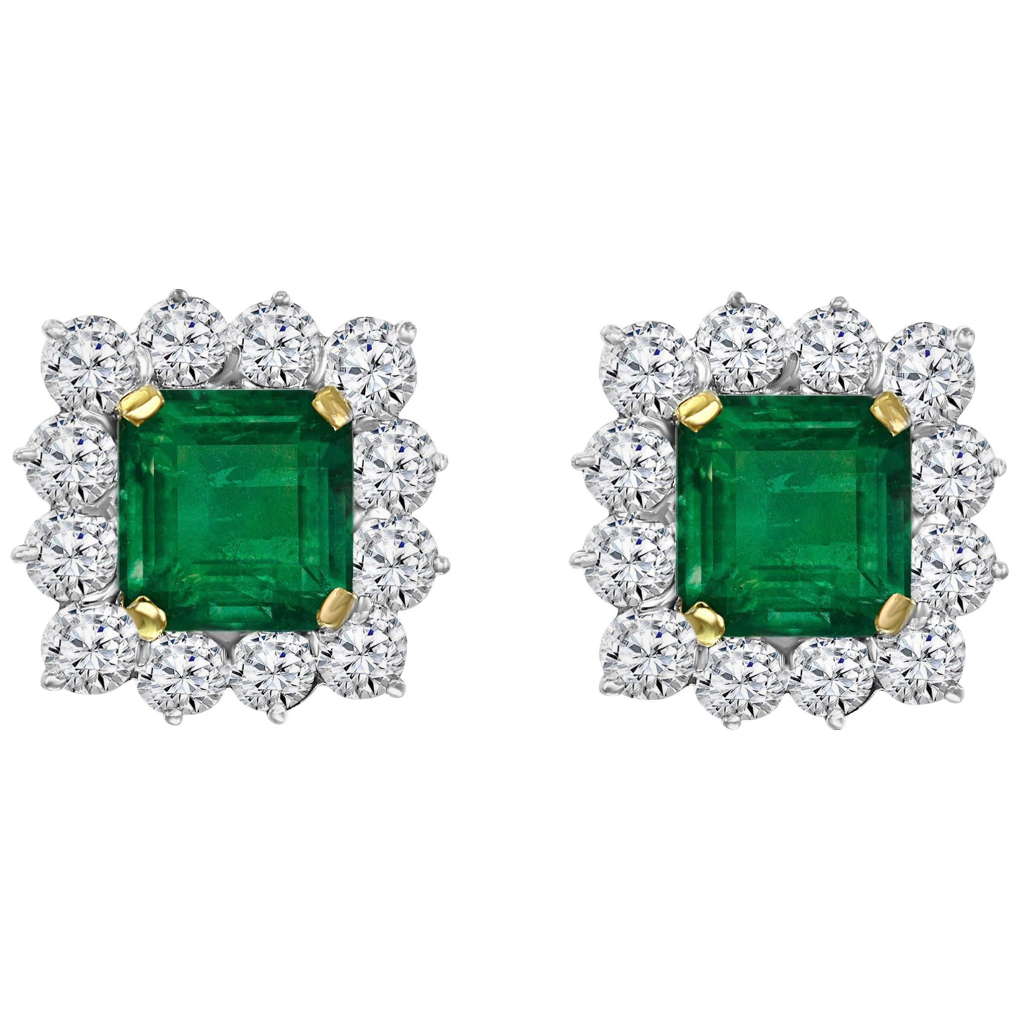 AGL Certified Insignificant Traditional 5 ct Colombian Emerald Diamond Earrings