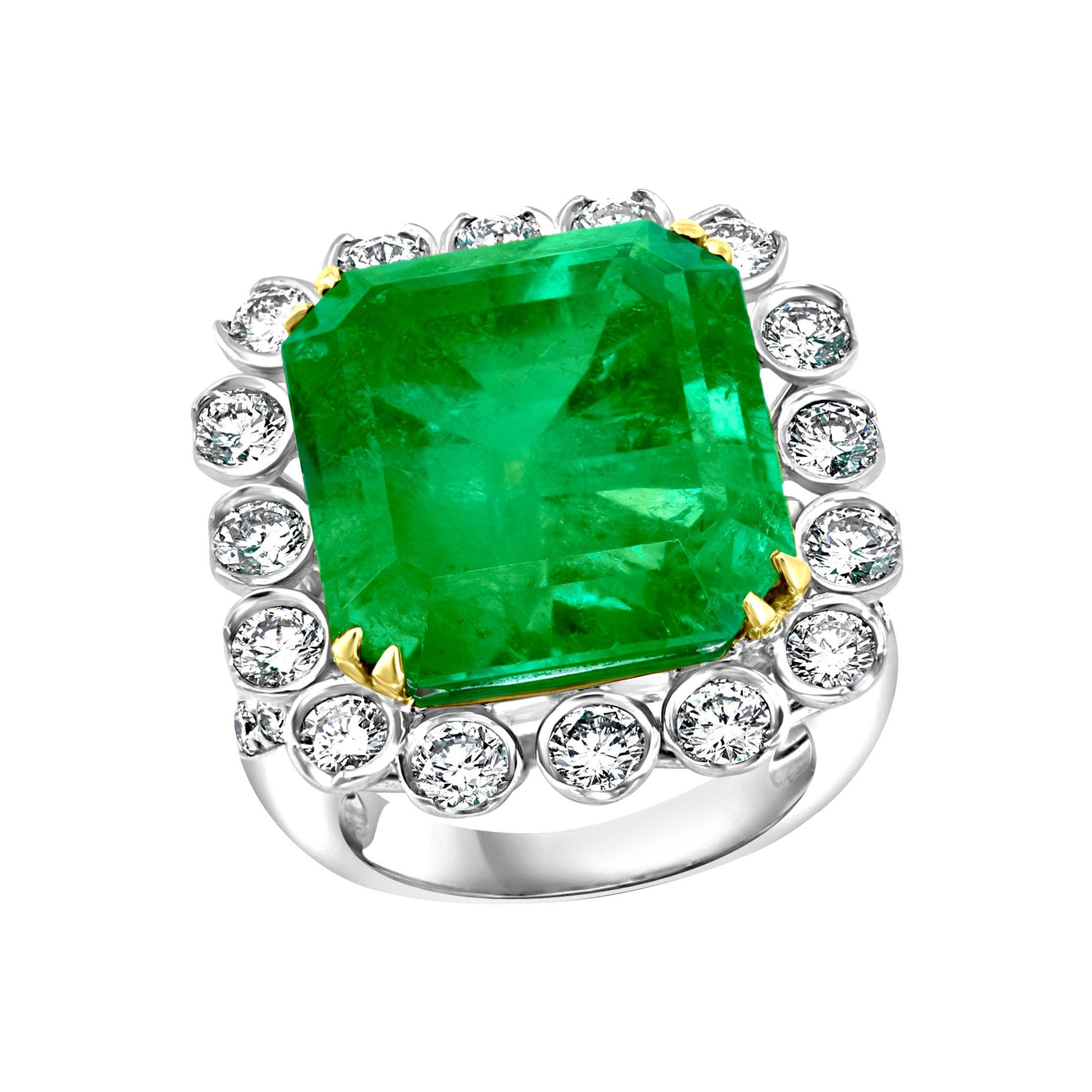AGL Certified Minor 20 Ct Emerald Cut Colombian Emerald Diamond Platinum Ring