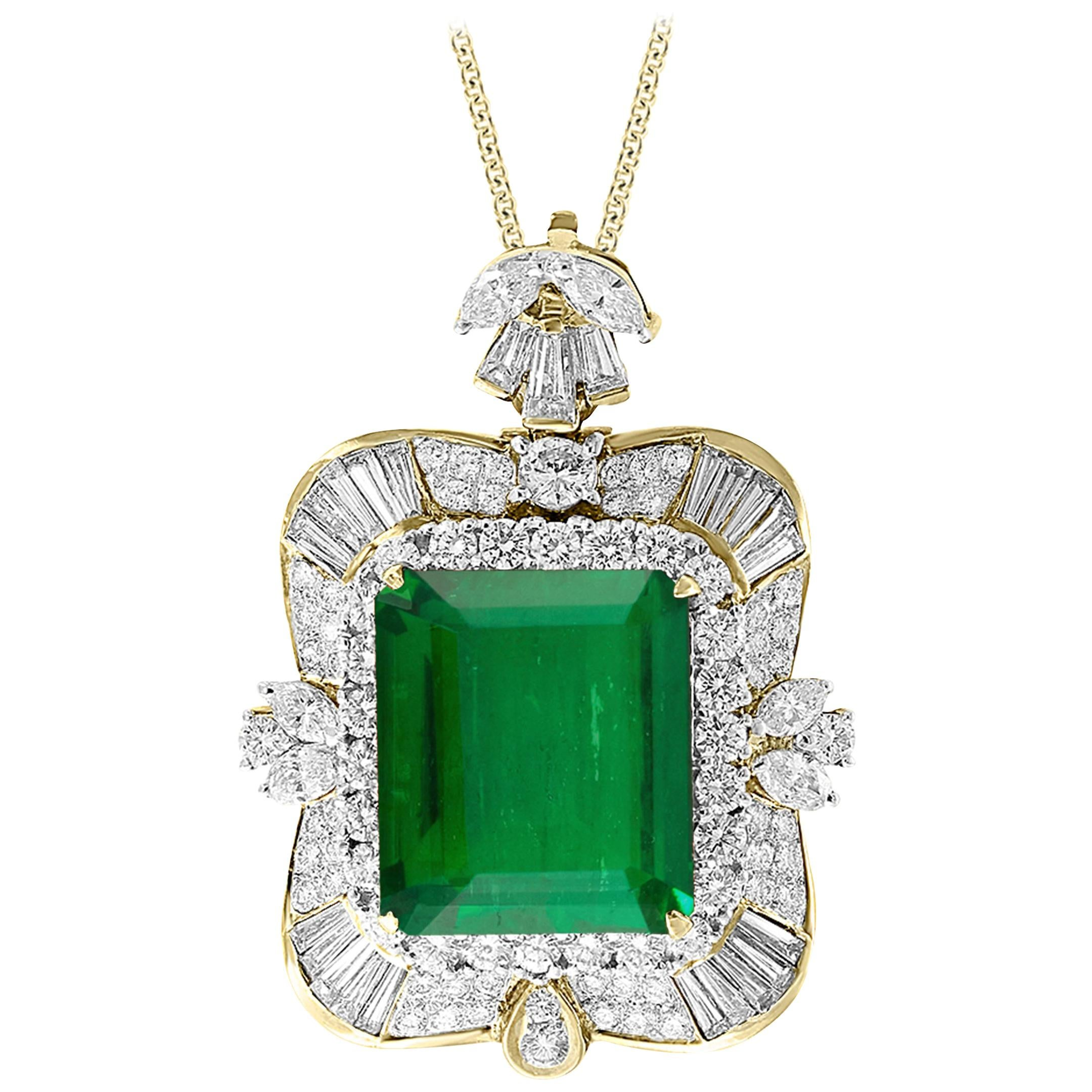 AGL Certified Minor 23.84 Ct Colombian Emerald & Diamond Pendent/Necklace Estate
