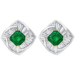AGL Certified Minor 4ct Emerald Cut Colombian Emerald Diamond Earrings 18k Gold