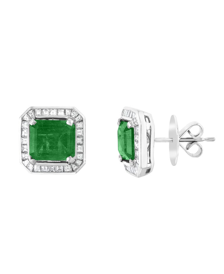 AGL Certified Minor Traditional 5 Carat Colombian Emerald Diamond  Stud Earrings 5 Carat finest Colombian Emerald Cut Emerald  Diamond  Post  Earrings  18 Karat Gold  This exquisite pair of earrings are beautifully crafted with 18 karat White gold