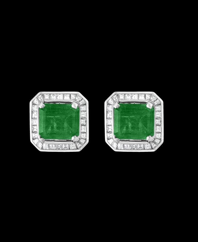 Emerald Cut AGL Certified Minor Traditional 5 Carat Colombian Emerald Diamond  Stud Earrings For Sale