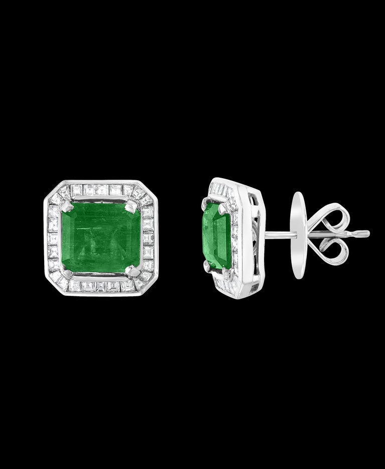 AGL Certified Minor Traditional 5 Carat Colombian Emerald Diamond  Stud Earrings In Excellent Condition For Sale In Scarsdale, NY