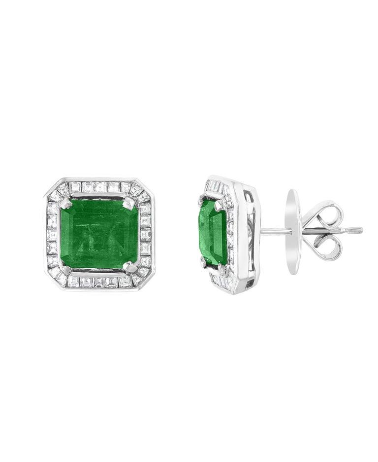 Women's AGL Certified Minor Traditional 5 Carat Colombian Emerald Diamond  Stud Earrings For Sale