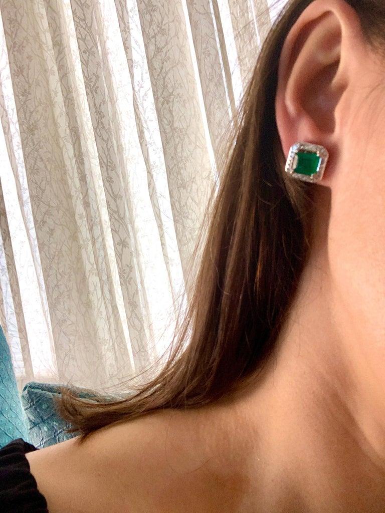 AGL Certified Minor Traditional 5 Carat Colombian Emerald Diamond  Stud Earrings For Sale 5