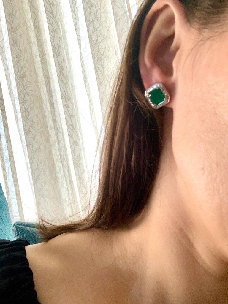 AGL Certified Minor Traditional 5 Carat Colombian Emerald Diamond  Stud Earrings For Sale 6