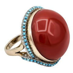 AGL Certified Natural Cabochon Red Coral and Turquoise Halo Cocktail Ring