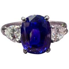 AGL Certified Natural Ceylon Sapphire and Diamond Three-Stone Ring
