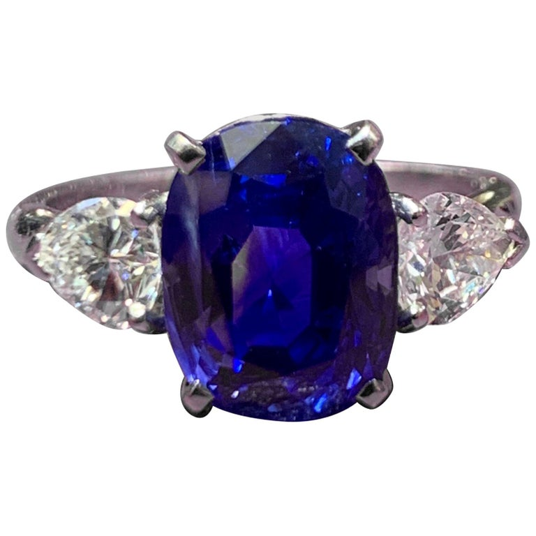 AGL Certified Natural Ceylon Sapphire and Diamond Three-Stone Ring