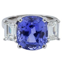 AGL Certified Natural Cushion Cut 9.06 Carat Sapphire Emerald Cut Diamond Ring