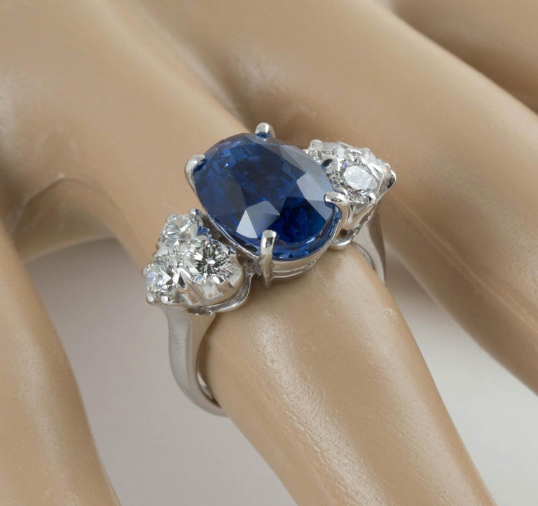 AGL Certified Natural No Heat Ceylon Blue Sapphire Diamond Gold Ring For Sale 4