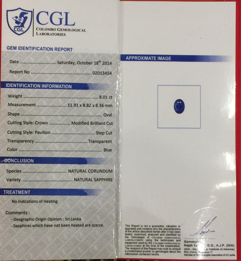 AGL Certified Natural No Heat Ceylon Blue Sapphire Diamond Gold Ring For Sale 6