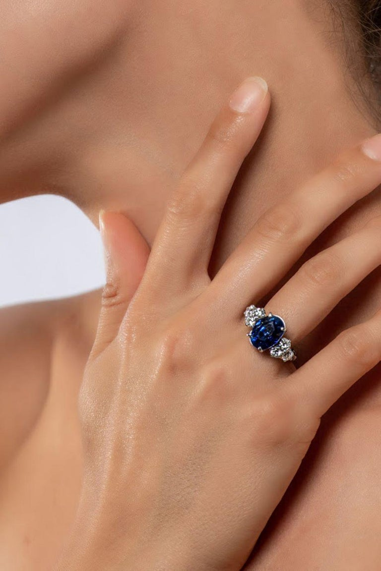 AGL Certified Natural No Heat Ceylon Blue Sapphire Diamond Gold Ring For Sale 7