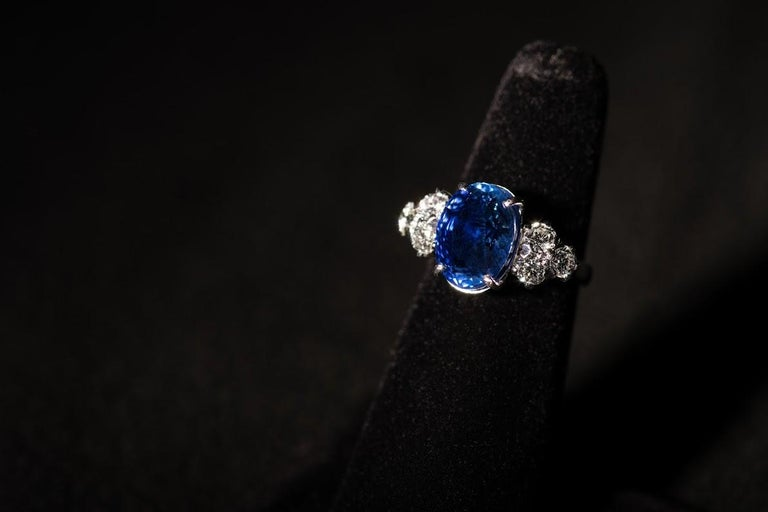 AGL Certified Natural No Heat Ceylon Blue Sapphire Diamond Gold Ring For Sale 9