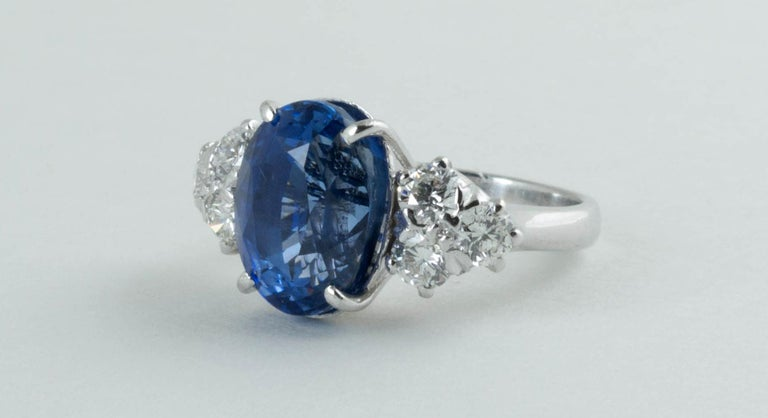 Contemporary AGL Certified Natural No Heat Ceylon Blue Sapphire Diamond Gold Ring For Sale