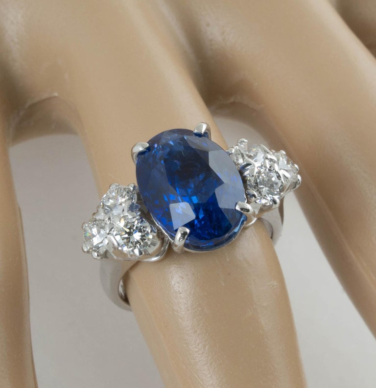 AGL Certified Natural No Heat Ceylon Blue Sapphire Diamond Gold Ring For Sale 1