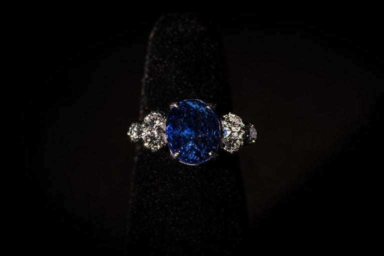 AGL Certified Natural No Heat Ceylon Blue Sapphire Diamond Gold Ring For Sale 2