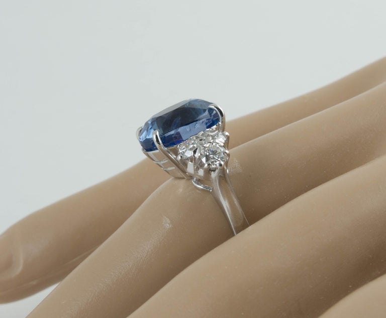 AGL Certified Natural No Heat Ceylon Blue Sapphire Diamond Gold Ring For Sale 3