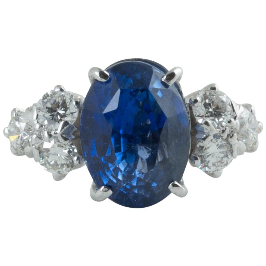 AGL Certified Natural No Heat Ceylon Blue Sapphire Diamond Gold Ring