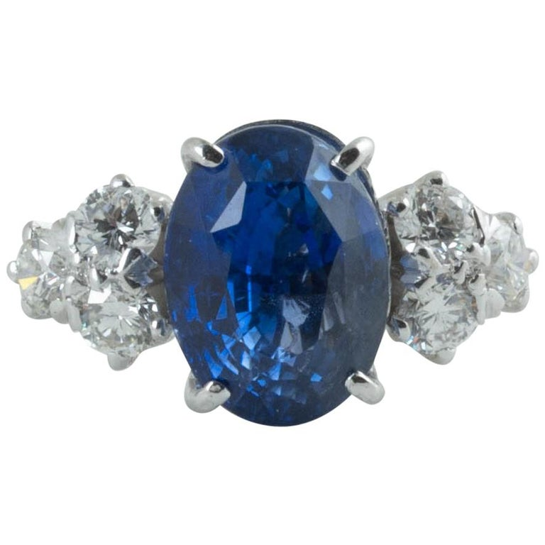 AGL Certified Natural No Heat Ceylon Blue Sapphire Diamond Gold Ring For Sale