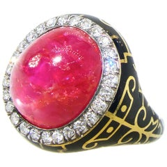 AGL Certified Natural Unheated Burma Ruby and Diamond Antique Ring
