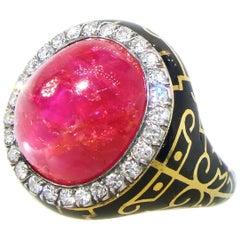 AGL zertifiziert natürliche unbeheizten Burma-Rubin und Diamant antiker Ring