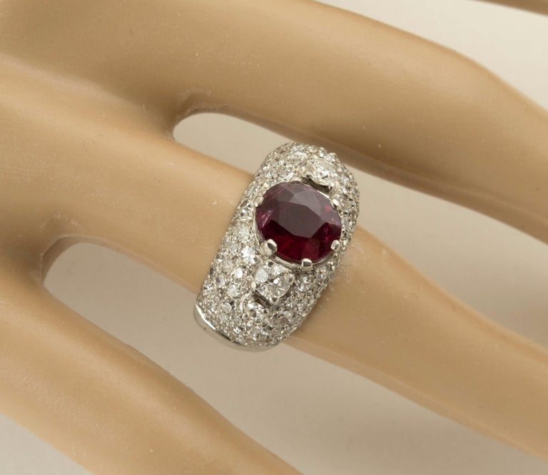Modern AGL Certified Natural Unheated Ruby Diamond Platinum Ring For Sale