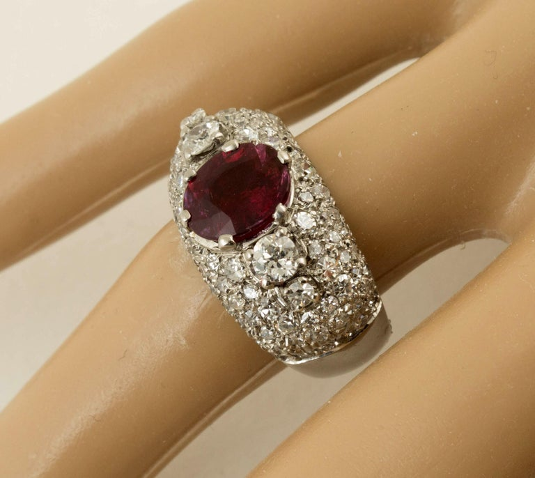 Oval Cut AGL Certified Natural Unheated Ruby Diamond Platinum Ring For Sale