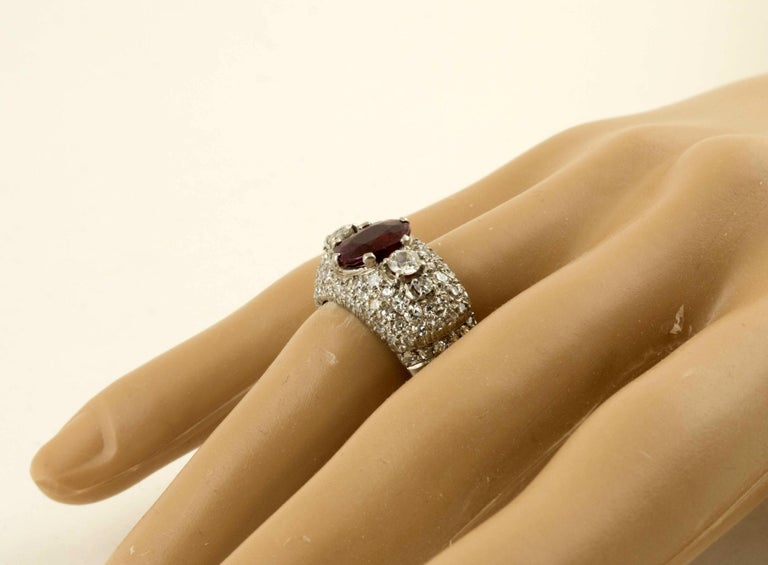 Women's or Men's AGL Certified Natural Unheated Ruby Diamond Platinum Ring For Sale