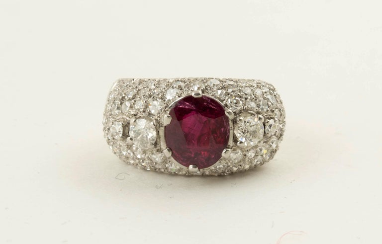 AGL Certified Natural Unheated Ruby Diamond Platinum Ring For Sale 1