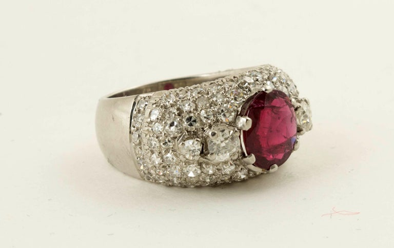 AGL Certified Natural Unheated Ruby Diamond Platinum Ring For Sale 2