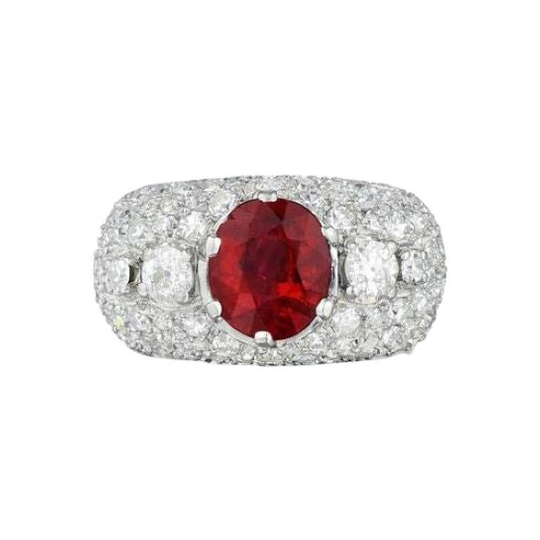 AGL Certified Natural Unheated Ruby Diamond Platinum Ring For Sale