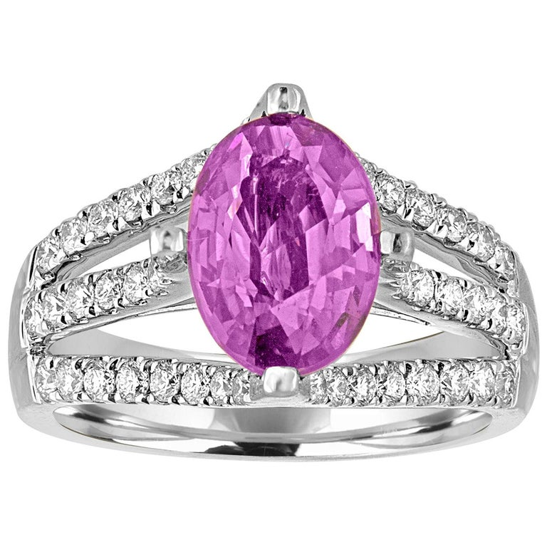 AGL Certified No Heat 2.86 Carat Oval Purple Pink Sapphire Diamond Gold Ring For Sale