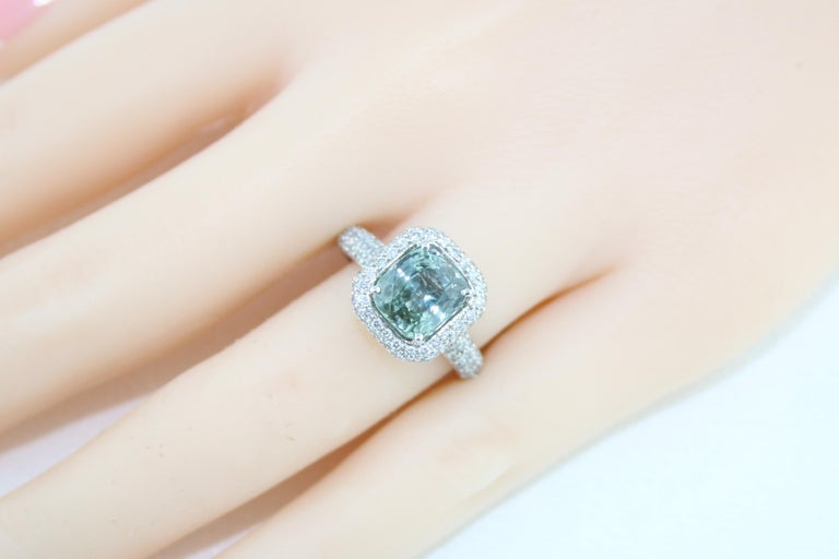 AGL Certified No Heat 3.34 Carat Cushion Green Sapphire Diamond Pave Gold Ring For Sale 2