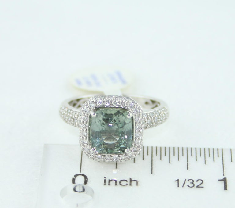 AGL Certified No Heat 3.34 Carat Cushion Green Sapphire Diamond Pave Gold Ring For Sale 3