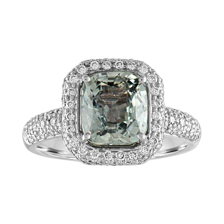 AGL Certified No Heat 3.34 Carat Cushion Green Sapphire Diamond Pave Gold Ring For Sale