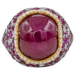 AGL Certified No Heat Burma Star Ruby and Diamond Ring