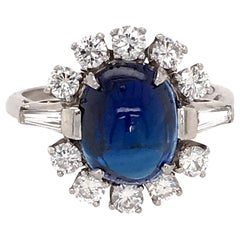 AGL Certified No Heat Ceylon Cabochon Sapphire and Diamond Ring