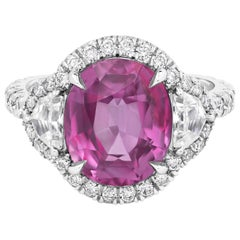 Roman Malakov, No-heat Pink Sapphire and Diamond Halo Three-Stone Ring