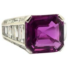 AGL Certified Pink Sapphire 6.59 Carat Pederzani Diamond 18 Karat Ring