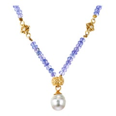 AGL Certified Purple Tanzanite South Sea Pearl Diamond Yellow Gold Necklace
